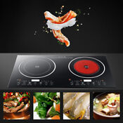 2400w Electric Induction Cooker Double Burner Cooktop Digital Hot Plate Stove Us