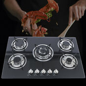 30 Lpg Ng Gas Cooktop Built In 5burner Stove Hob Cooktop Tempered Glass Us New