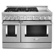 Kitchenaid 48 Stainless Steel Smart Dual Fuel Range With Griddle Kfdc558jss