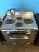 Vintage Stainless Slide In Range Cooktop Oven Stove 1960s Jetsons Works Good