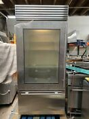Sub Zero Bi36ug S Th 36 Built In Glass Door Refrigerator Pull Freezer Stainless