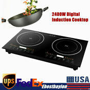 2400w Portable Induction Cooktop Countertop 2 Dual Cooker Burner Stove Hot Plate