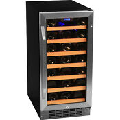 Stainless Steel 30 Bottle Built In Wine Cooler Compact Home Cellar Chill Fridge