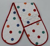 Sterck Bright Red White Polka Dot Double Oven Glove Suitable For Aga Rayburn