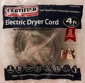 Certified Appliance Accessories Electric Dryer Cord 4 Ft 90 1020 125 250 Volt