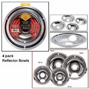 4 Electric Stove Drip Pans For Ge Hotpoint Burner Universal Reflector Bowls