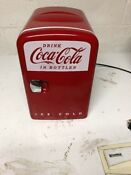 Small Coca Cola Mini Fridge Used In Great Condition Holds 6 Cans