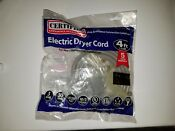 Lot Of 4 Certified Electric Dryer Cord 4 Ft 3 Wire 30 Amp 250vac
