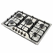 Metawell 30inch Iron Frame Stainless Steel Panel 5 Burner Natural Gas Cooktops
