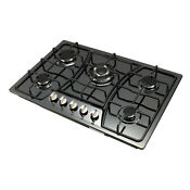 30inch Titanium Stainless Steel 5 Burners Cooktop Built In Stove Lpg N