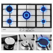 34 Stainless Steel Gas Stove Built In 5 Burners Cooktop Hob Cooker Ng Lpg