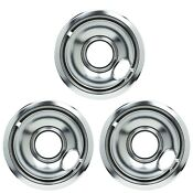 Whirlpool Stove 6 Inch Chrome Drip Pan Bowl Wpw10196406 Oem 3 Pack