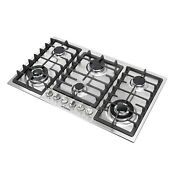 Brand 34 Stainless Steel 6 Burners Built In Cooktop Stove Ng Lpg Hob Cooker