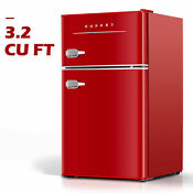 3 2 Cu Ft Retro Mini Fridge 2 Door Compact Mini Refrigerator Home Office Red