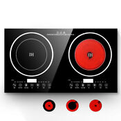 Black Electric Dual Induction Cooker Cooktop Double Hot Plate Cooking Burner Top