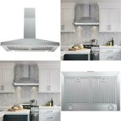 30 In Wall Mount Range Hood In Stainless Steel Professional Baffle Filters Led