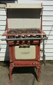 Vintage Used Caloric Brand Pink Enamel Gas Stove 4 Burners Rusty Chipped