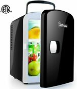 Mini Fridge Refrigerator Cooler And Warmer 4 Liter 6 Can Compact Portable Black