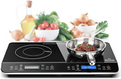 Duxtop Lcd Portable Double Induction Cooktop 1800w Digital Electric Countertop