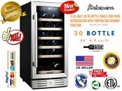 15 Wine Cooler 30 Bottle Built In Or Freestanding With Stainless Steel Doubl