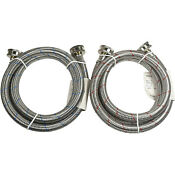 2x Stainless Steel Washing Machine Hoses 4 Ft Burst Proof 3 4 Fgh Connector