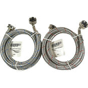 2x Stainless Steel Washing Machine Hoses 90 Elbow 4 Ft Burst Proof 3 4 Fgh