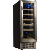 Built In 18 Bottle Slim Stainless Steel Wine Cooler Compact Refrigerator Cellar