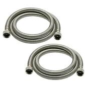 4 Foot Stainless Steel Braided Washing Machine Hoses Burst Proof 2 Pack