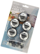 Aqua Plumb Rkg Gas Range Knob Set Replacement Black With Silver Overlay 5 Pack