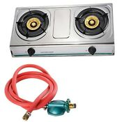 Stainless Steel Double Burner Gas Gas Stove Free Shipping