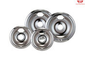 Ge Hotpoint Electric Chrome Stove Replacement Drip Pans Burner Covers Top 4 Pack