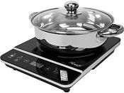 Induction Cooker Cooktop 1800w With Stainless Steel Pot Black