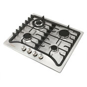 23 Stainless Steel Kitchen Cooktop 4 Burner Built In Stove Lpg Ng Gas Hob