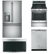 Ge Profile Series 4 Piece Kitchen Package Stainless Steel Gas Convection Range