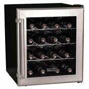 Black 16 Bottle Wine Cooler Thermoelectric Bar Refrigerator Countertop Chiller