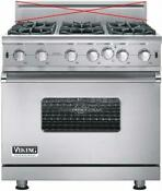 Viking Professional 5 Series 36 Pro Style Convection Gas Range Vgic53616bsslp
