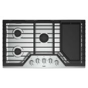 Whirlpool 36 In Gas Cooktop In Stainless Steel With 5 Burners And Griddle