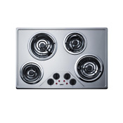 29 38 In Coil Top Electric Cooktop In Stainless Steel With 4 Elements