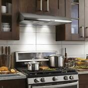 Kitchen Exhaust Hood Stove Fan Ducted Under Cabinet Stainless Steel 3 Speed 36