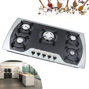 35 4 Gas Cooktop 5 Burners Stainless Steel Sealed Stove Tops Cooker Home Use