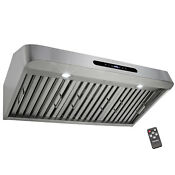 36 Island Mount Stainless Steel Black Touch Control Vent Fan Kitchen Range Hood