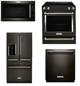 Kitchenaid 4 Appliance Black Stainless Set Otr Refrigerator Range Dishwasher Ka1