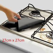 4pcs Foil Gas Hob Gas Cooker Protector Liner Cleaner Tool Non Stick Dishwasher