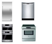 Dcs Bosch 4 Kitchen Package Stainless Refrigerator Wall Oven Range Dishwasher