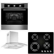Cookology 60cm Built In Electric Fan Oven Gas On Glass Hob Curved Hood Pack