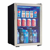 Danby 95 Can 2 6 Cu Ft Free Standing Beverage Center Mini Fridge W Glass Door
