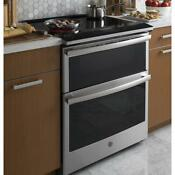 Ge Profile 6 6 Cu Ft Slide In Double Oven Smart Electric Range Self Cleaning
