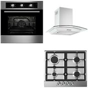 Oven Pack Cookology Built In Electric Fan Oven Cast Iron Gas Hob Curved Hood