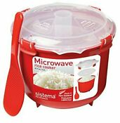 Sistema Microwave Rice Steamer 2 6 L Red Clear Bpa Free Cooker High Quality