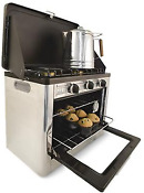 Deluxe Outdoor Oven Stove Twin Burners Stainless Steel Nonstick Matchless 35 Lbs